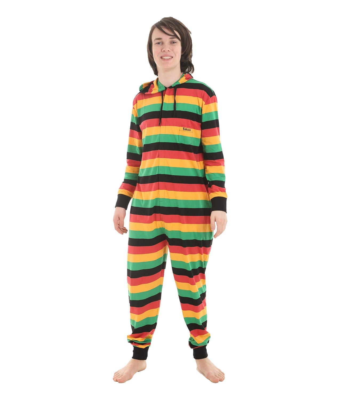 reggae ganzk rperschlafanzug f r erwachsene gestreifter pyjama funzee. Black Bedroom Furniture Sets. Home Design Ideas