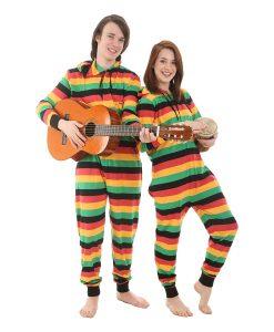 Reggae Ganzkörperschlafanzug für Erwachsene, gestreifter Pyjama