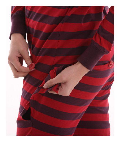 Retro Ganzkörperschlafanzug für Erwachsene mit Poklappe