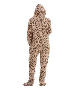 Wild Erwachsenenstrampler mit Füssen, im Leopardenmuster