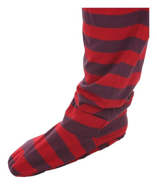 Retro Funzee Erwachsenenstrampler mit Füßen – breit gestreift