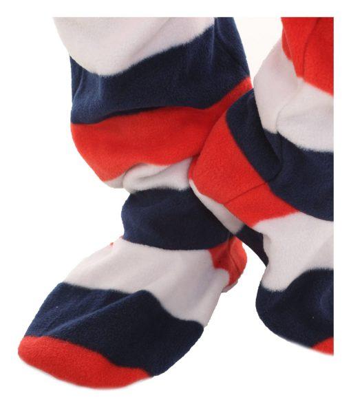 Rot Weiß Blau Ganzkörperschlafanzug mit Füssen