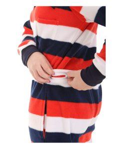 Rot Weiß Blau Erwachsenenstrampler mit Füssen und Poklappe