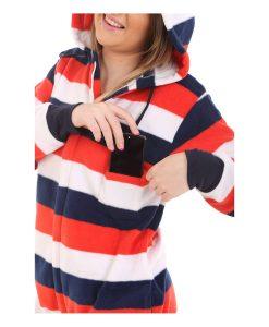 Rot Weiß Blau Erwachsenen Einteiler mit Kapuze